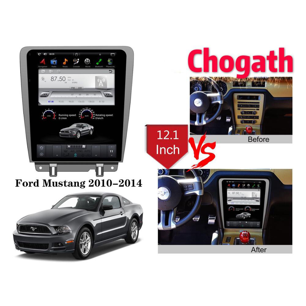 Chogath  12.1inch Car Multimedia Player Android 7.0 Car Radio GPS Navigation Player For Ford Mustang 2009-2015 With Bluetooth