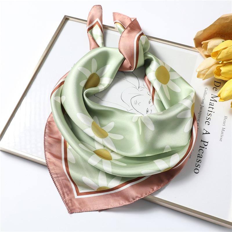 Small Silk Scarf For Women Brand Designer Square Neckerchief High Quality Smooth Neck Scarves 70x70cm Hair Scarfs Hijab Femme