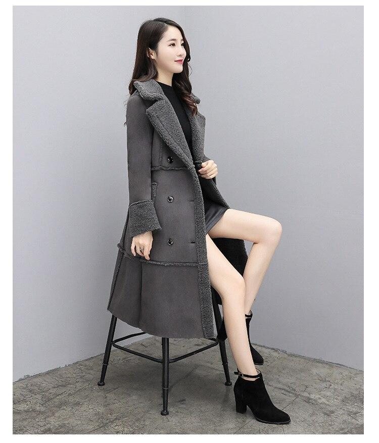 caqui outwear de couro do falso velo longo quente casaco