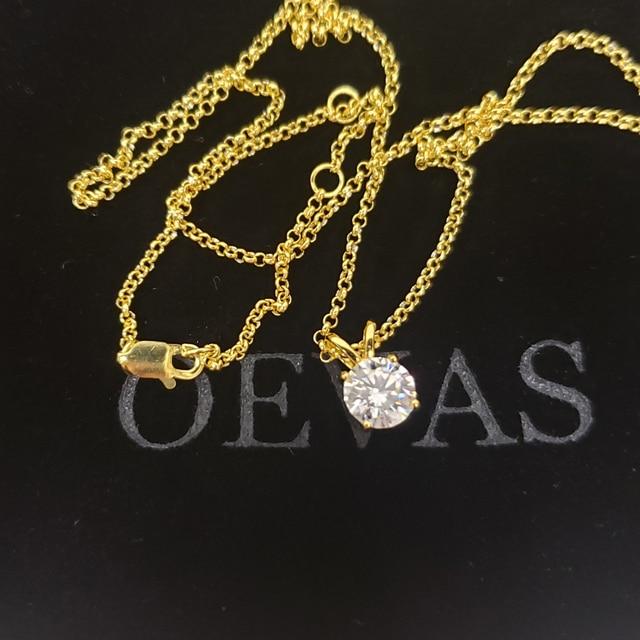 Oevas real 1 quilates d cor moissanite pingente para mulher 18k banhado a ouro 100% 925 prata esterlina festa de casamento jóias finas presente 6