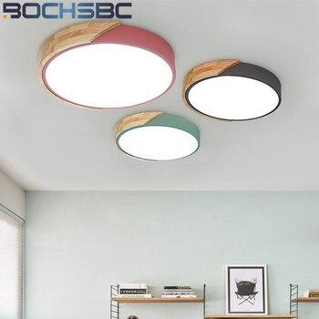 BOCHSBC Nordic Wood Light Ceiling Lamp LED Acrylic Lampshade Bedroom Study Room Light Modern Dining Living Room Lighting Fixture