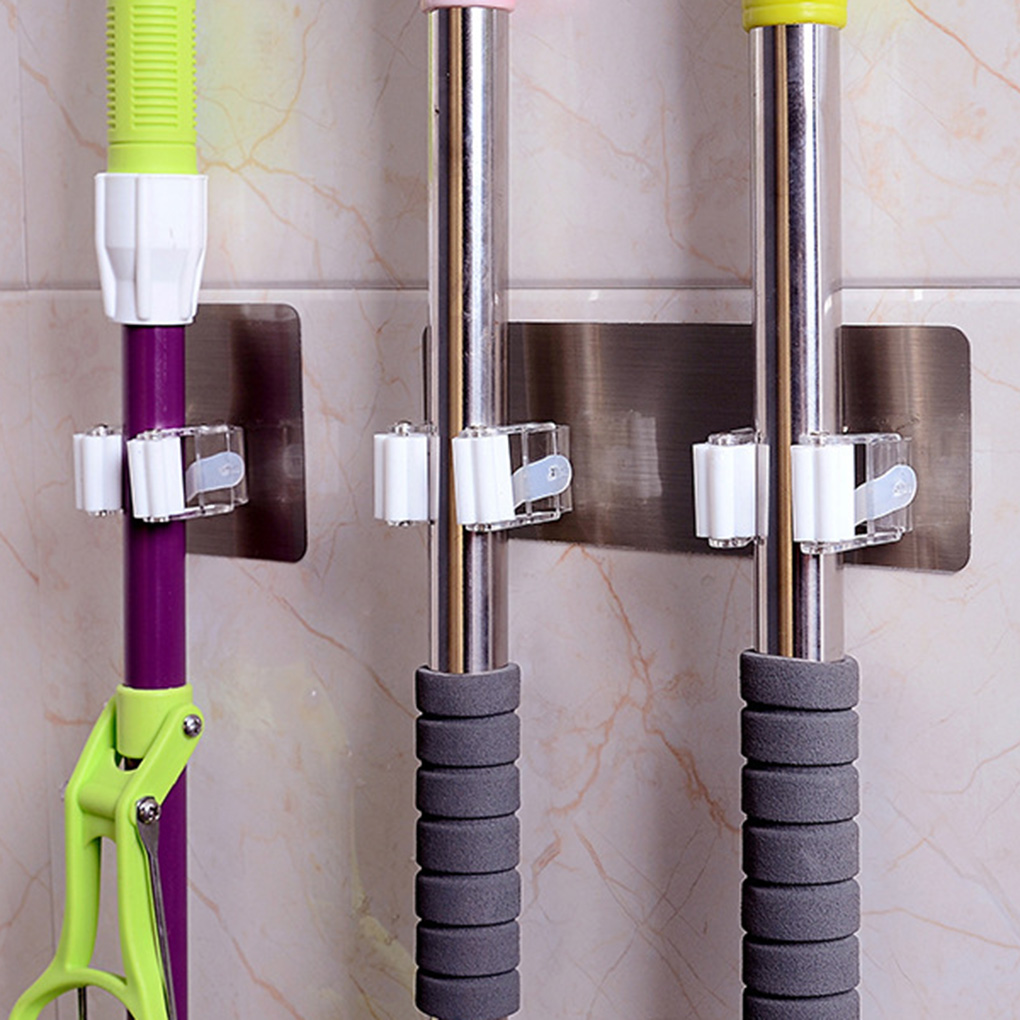 Mop Holder Brush Broom Hanger Storage Rack Bathroom Organizer Wall Mounted Accessory Hanging Pipe Hooks Products For Kitchen
