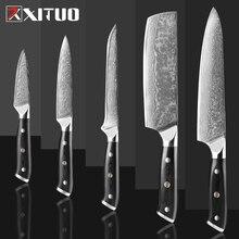 XITUO Damaskus Kochmesser Damaskus Stahl Japan Sankotu Cleaver Messer Cut Fleisch Utility Kiritsuke Obst Küche Messer Kochen Werkzeug