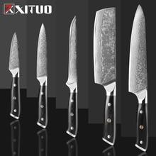 XITUO couteau de Chef damas, Sankotu, japon en acier, pour couper la viande, Kiritsuke, pour fruits, ustensile de cuisine