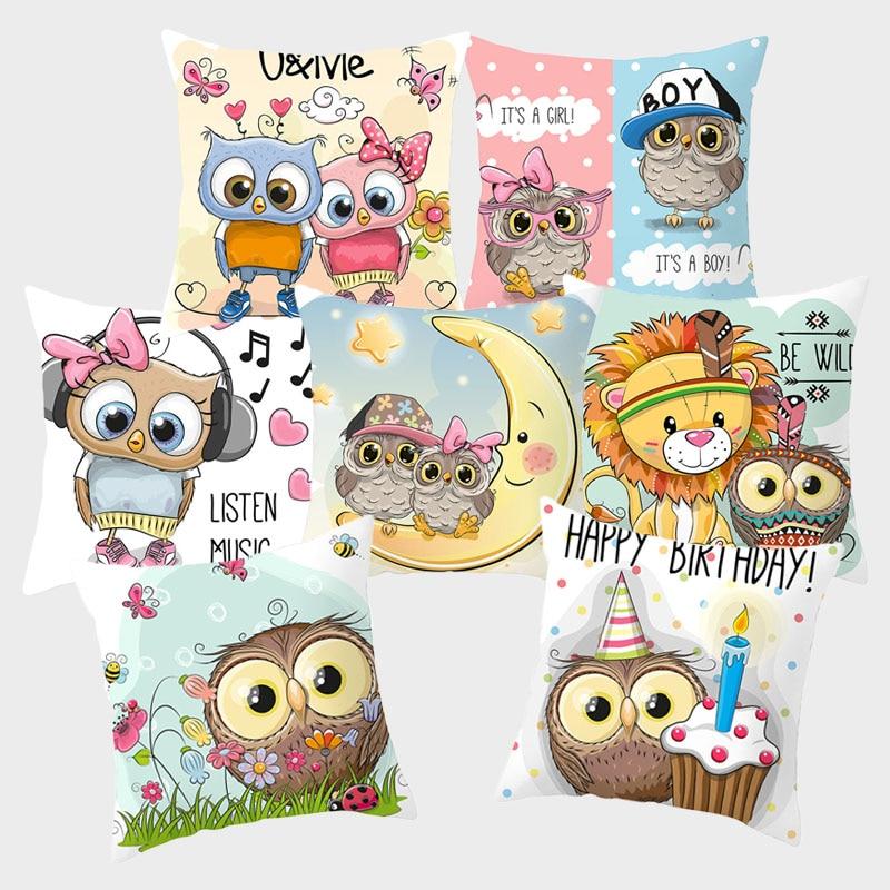 Funny Cartoon Owl Cushion Covers Cute Pink Pillowcase Decorative Cushions For Sofa Polyester Pillowcover Cogines Para Sofa 10038