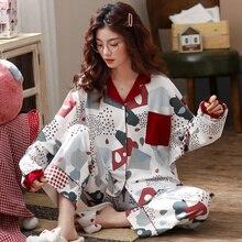 BZEL Primavera Outono Inverno Mulheres Sleepwear Conjuntos de Pijama Mujer Femme Bonito Dos Desenhos Animados do Pijama 100% Algodão Home Wear Branco Suave Roupa de Dormir