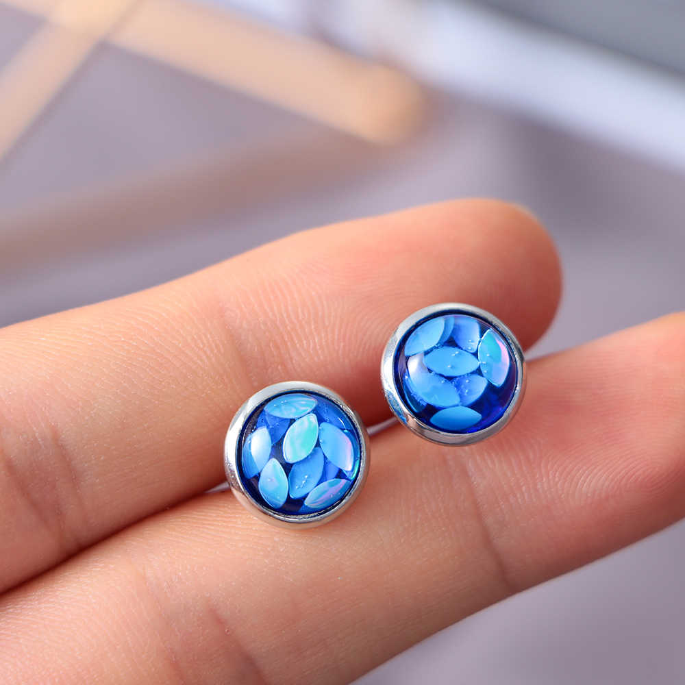 6 par okrągłe 12mm kryształ srebrny okrągły wkręt zestaw kolczyków oko konia kolorowe unikalne świecący Rhinestone stadniny biżuteria