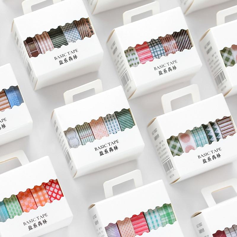 5 Rolls/set Wash Tape Set Grid Ring Base Pattern Masking Tape Set Kawaii Stationery Diary Journal Decoration Paper Tape