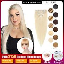 MRSHAIR קליפ שיער טבעי הרחבות מכונת עשה רמי ישר שיער #60 בלונד חום טבעי צבע שיער 7pcs ברזילאי שיער