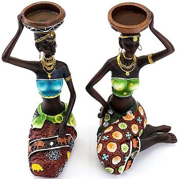 Statue Sculpture Candleholder African Figurines  1