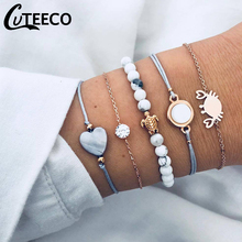 Cuteeco 5pcs/set Bohemian Beads Bracelets Vintage Fashion Crab Turtle Heart Bangles Sets For Women Party Jewelry