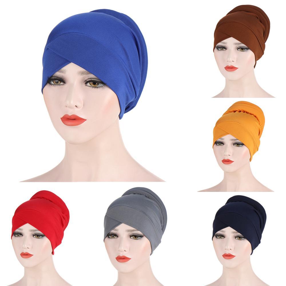Твердая цветная внутренняя хиджабы с перекрещивающимся лбом, шапка для женщин, головной платок, тюрбан, шапки для женщин, мусалман готов нос...