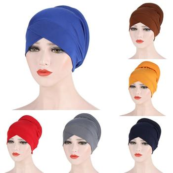 Solid color forehead cross Inner hijabs cap for women wrap head scarf turban caps femme musulman ready to wear hijab bonnet - discount item  39% OFF Muslim Fashion
