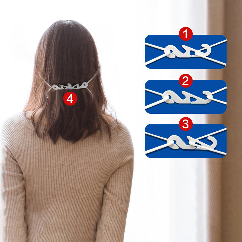 250Pcs Adjustable Plastic Mask Ear Grips Ear Band Extension Hook Face Masks Buckle Holder Accessories For Adult Child  53x15mm