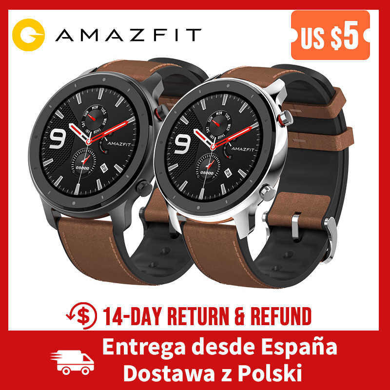 Amazfit GTR 47mm GPS Smart Watch 5ATM Waterproof Smartwatch 24 Days Battery Smart Watch Men for Android iOS