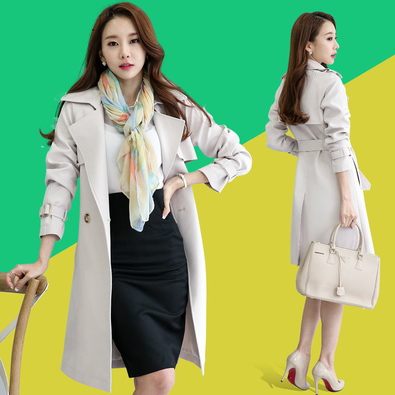 Women's Windbreaker Long Coat Women Trench Femme Spring&Autumn Korean Slim Black Womens Trench Coats Abrigo Mujer KJ395