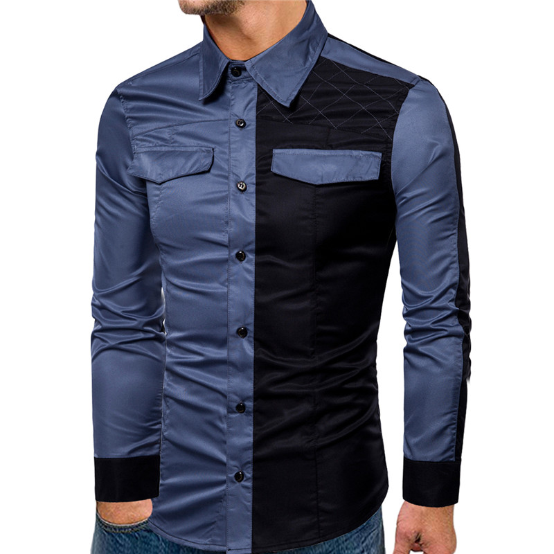 fashion patchwork shirt formal long sleeve casual mens shirts 2019 new slim fit double pocket dress shirt men in Casual Shirts from Men 39 s Clothing