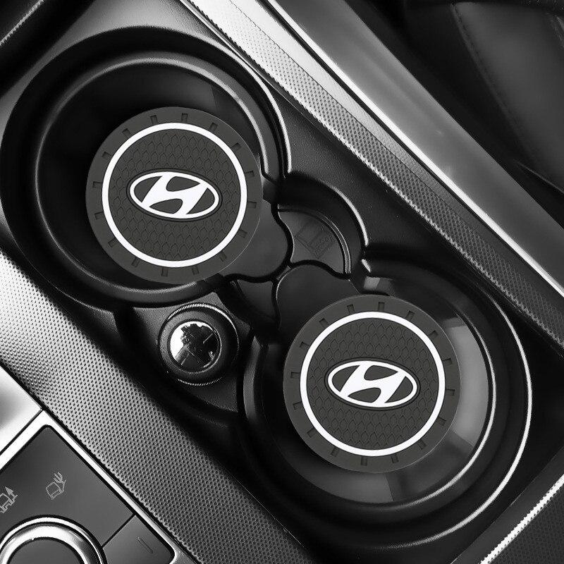 2pcs Car Auto Water Cup Slot Non-Slip Mat Accessories For Solaris Ix35 I20 I30 I40 HYUNDAI Tucson CRETA Santa Fe Car Accessories