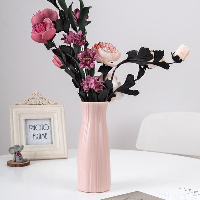 Simulation européenne vase en plastique créatif simple transparent waterper plante verte fleur sèche salon fleur table haut pièces