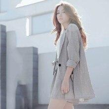 Womens Suit 2 Pieces Set Cotton Linen Loose Blazer Bow Women Tracksuit Summer High Quality Short Pant Suits