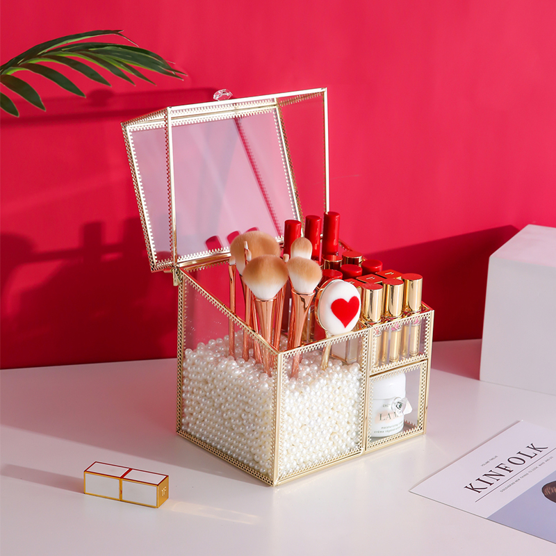 ANFEI Lipsticks-Box Square Glass With Gold-Makeup-Tools-Brushes Large Pearls High-Quality