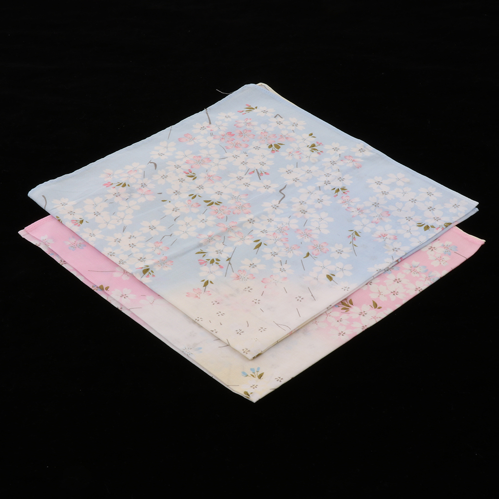 2pcs Handkerchief Women CottonCotton Floral Handkerchiefs Cherry Blossoms Pocket Hankies Wedding Party Use
