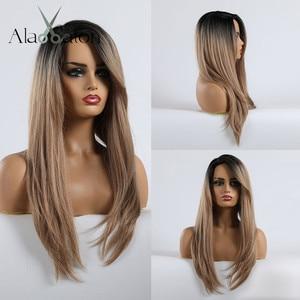 Image 1 - アランイートンロングストレートヘアウィッグ黒人女性かつら前髪毎日衣装コスプレオンブル黒茶色ブロンドかつら女性