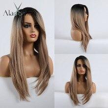 ALAN EATON długie peruki z prostymi włosami dla czarnych kobiet Afro peruka z grzywką codzienny kostium Cosplay Ombre czarne brązowe peruki blond Lady