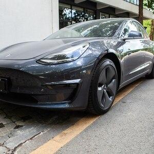 Для Tesla Model 3 передний противотуманный светильник аксессуары для бровей ABS передняя отделка лезвия автомобильные аксессуары модель 3 модель ...