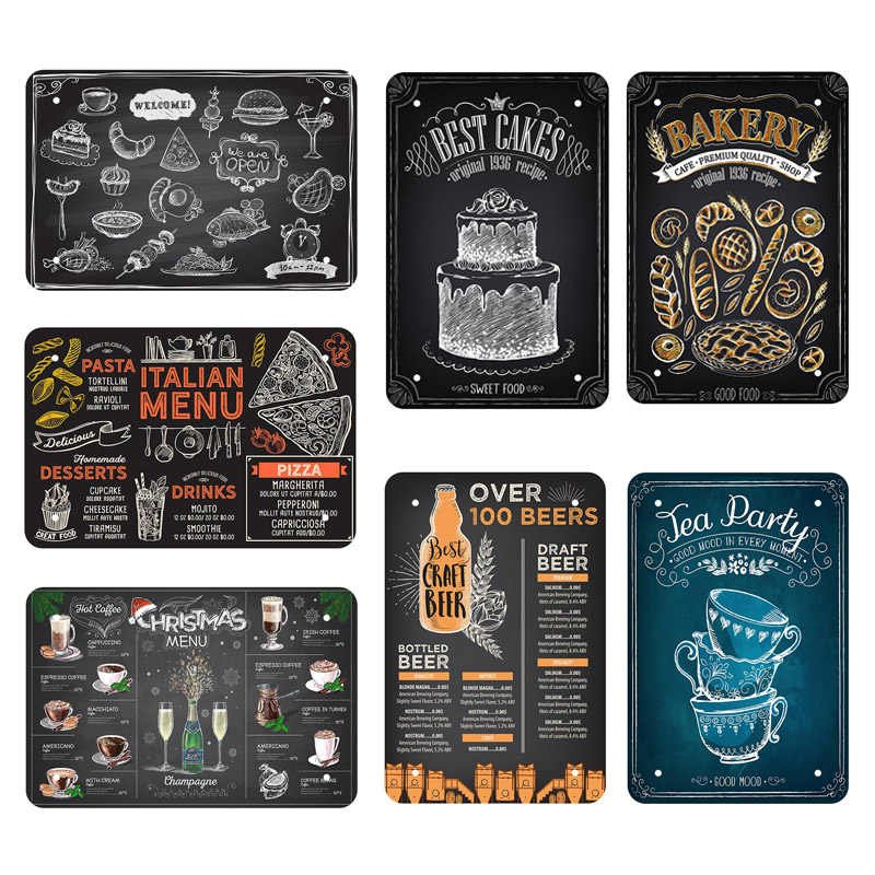 Vintage Wall Poster Metal Sign Blackboard Painting Plaques Drawing Cafe Coffee Shop House Pub Bar Retro Decoration Wall Plates