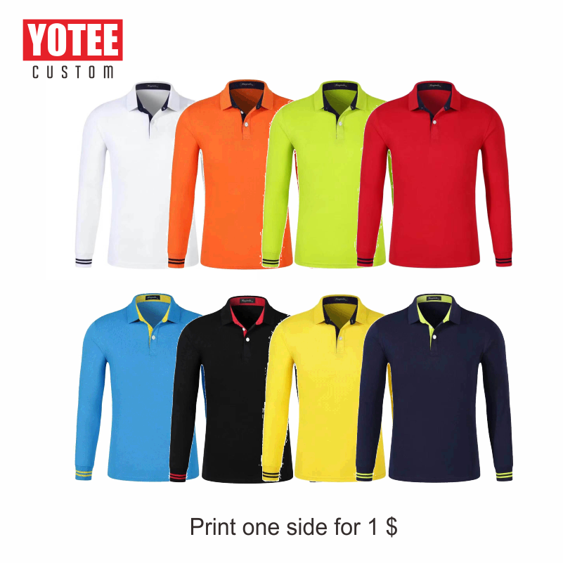 YOTEE 2019 autumn and winter trend LOGO custom long-sleeved polo shirt tops