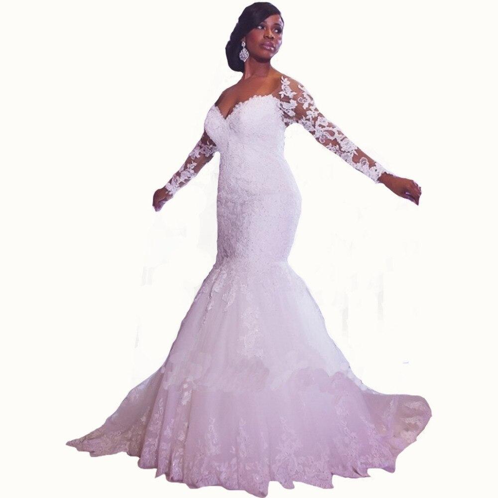 Vestido De Novia Mermaid Court Train Long Sleeve Customized Cheap Brides Long Lace Bridal Gown 2018 Mother Of The Bride Dresses