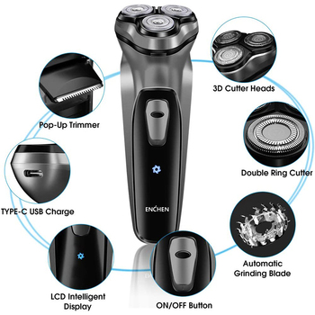 ENCHEN Blackstone Electric Face Shaver Razor For Men 3D Floating blade Washable USB Rechargeable 2