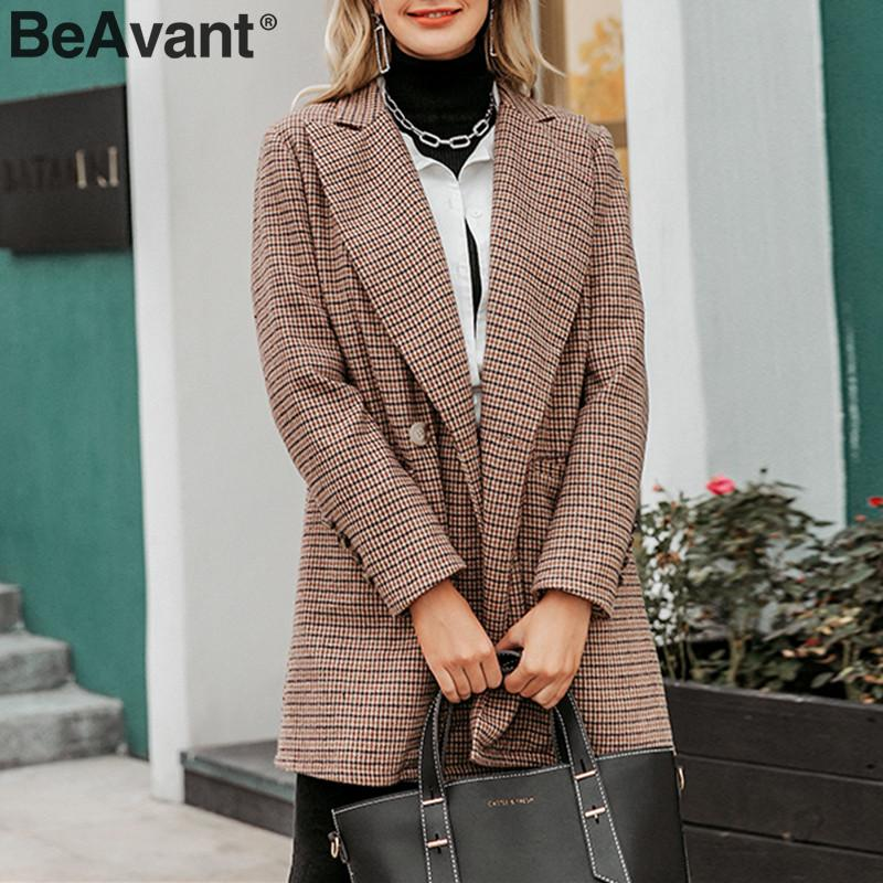 BeAvant Vintage Plaid Blazers Women Long Sleeve Buttons Pockets Female Blazer Coat Elegant Office Ladies Autumn Winter Jackets