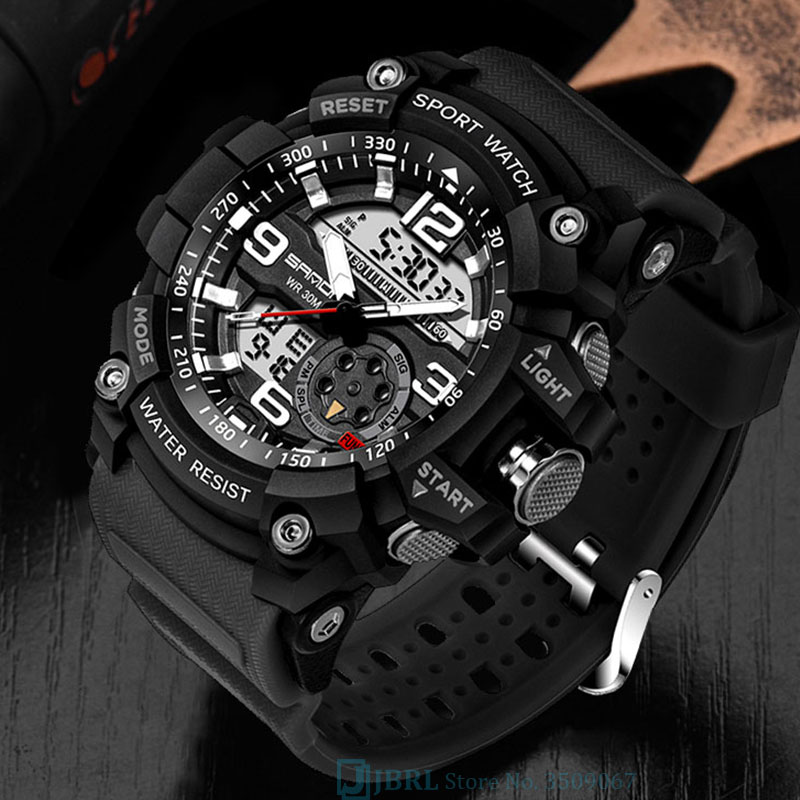 Waterproof Sport Watch Men Watches Military Army SANDA Brand Dual Display Wristwatch New Male Wrist Watch For Men Clock Hours