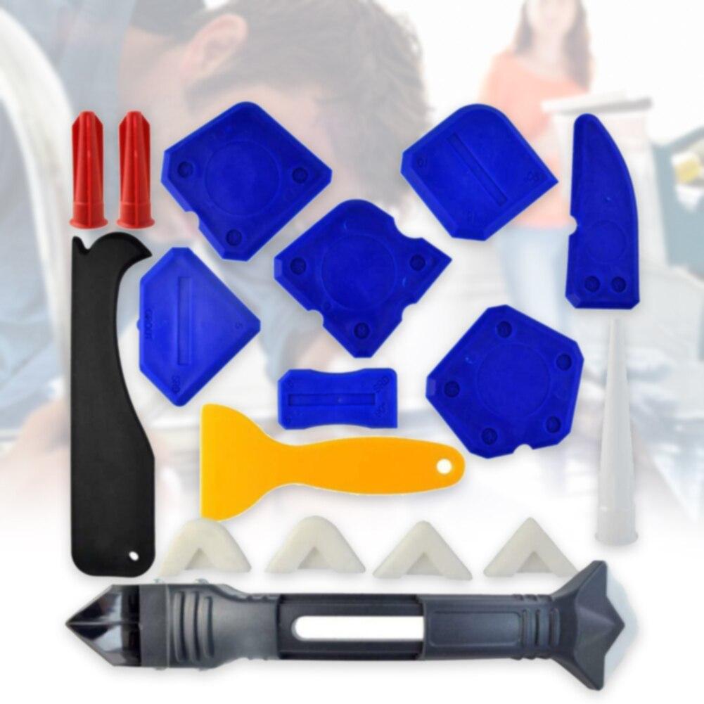 18 Pcs Wearproof Finishing Bathroom Caulking Tool Kit Repair For Kitchen Durable Corner Grout Scraper Sealing Silicone Sealant