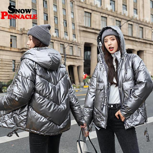 Winter women short parkas jackets casual female thicken warm hooded jackets coat windprood shiny big pocket jackets 4