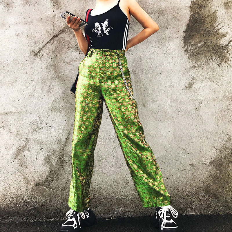 Super Fashion Chinese Style Retro Pants Women Soil Cool Dragon Hip Hop Embroidery High Waist Green Straight Pants Casual