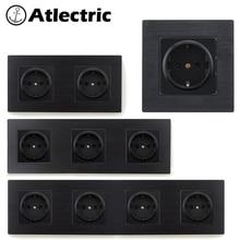Atlectric EU/DE/RU Standard Power Plug Socket Aluminum Alloy Metal Panel 16A 110-250V Wall Socket Electrical Outlet