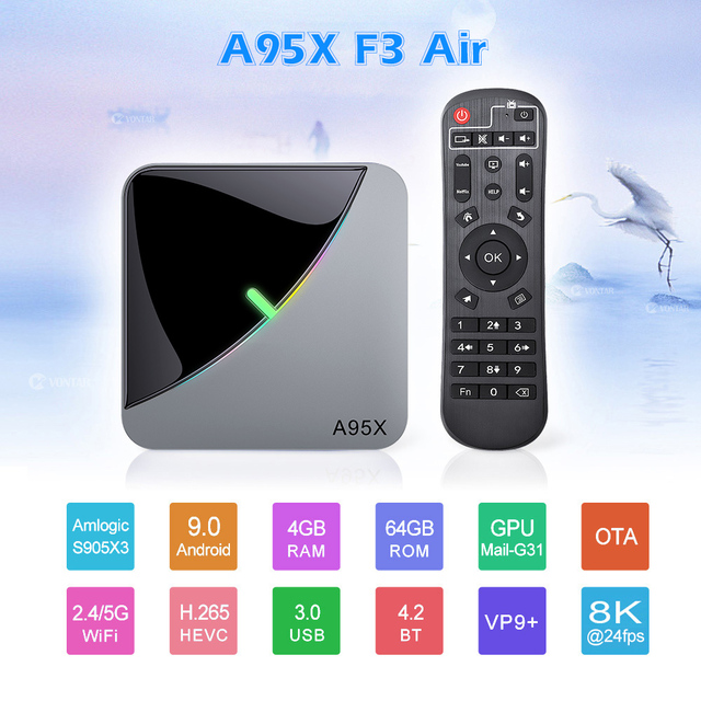 A95X F3 RGB Light TV Box Android 9.0 4GB 64GB 32GB Amlogic S905X3 8K 60fps Wifi Netflix Media Player A95XF3 X3 2GB16G