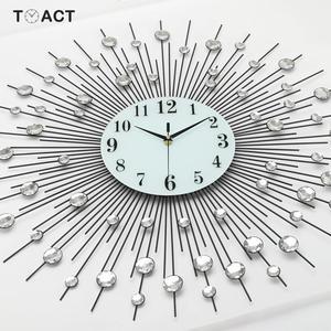 Image 2 - 60cm Luxury Diamond Wall Clock Iron Art Metal Crystal 3D Large Wall Clock Luminous Round Watch Diamond Hanging Clocks Home Decor