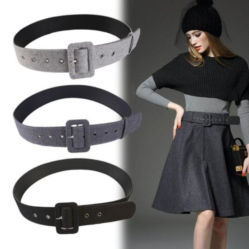 Simple  Versatile Women Overcoat Belt Light Gray Woolen Cloth Waist Black Decorative Trouser Waist Sealing 100cm*4.6cm