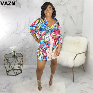 VAZN Mini Dress Button T-Shirt Colors Full-Sleeve Sexy Lady Summer Print SMR9358 Fly