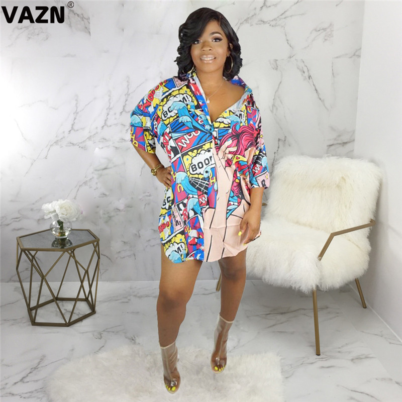 VAZN SMR9358 new product 2019 summer sexy lady colors print dress full sleeve button fly mini dress sexy lady T shirt chic dress