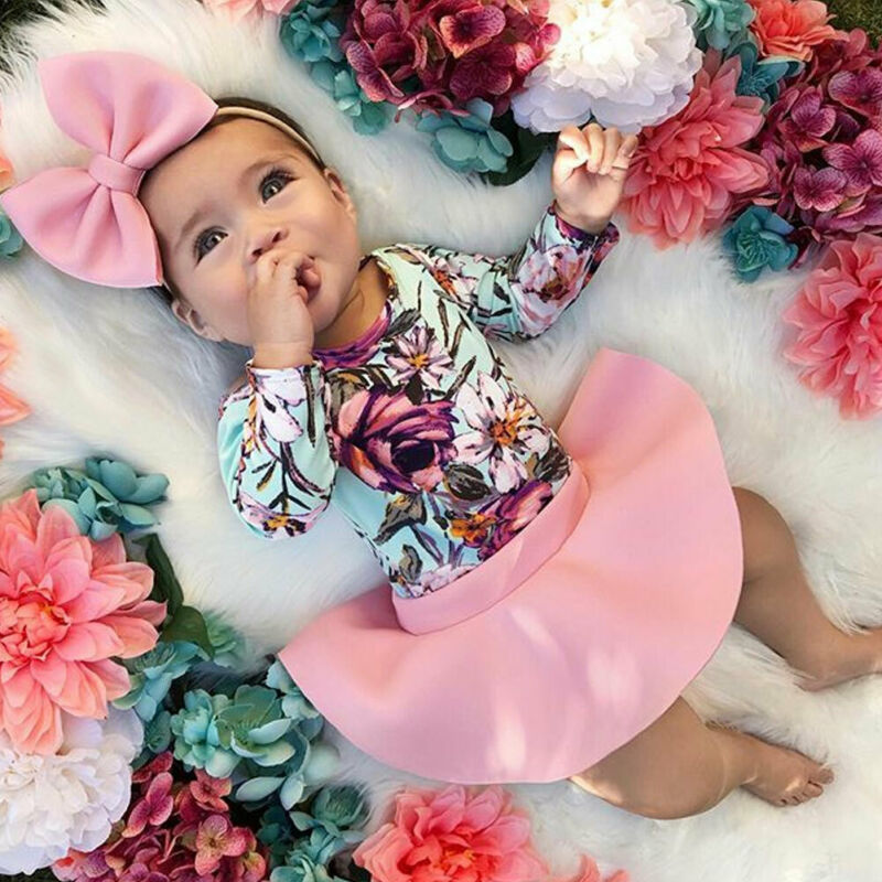 US Summer Infant Baby Girl 0-3Y Floral Romper Jumpsuit Skirt Outfit Skirt Clothes Set