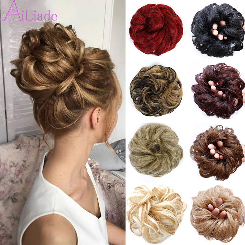 AILIADA Brown Heat Resistant Chignon Elastic Rubber Band Hair Bun Hairpiece Curly Hair Scrunchie Hair Extensions Wigs For Women