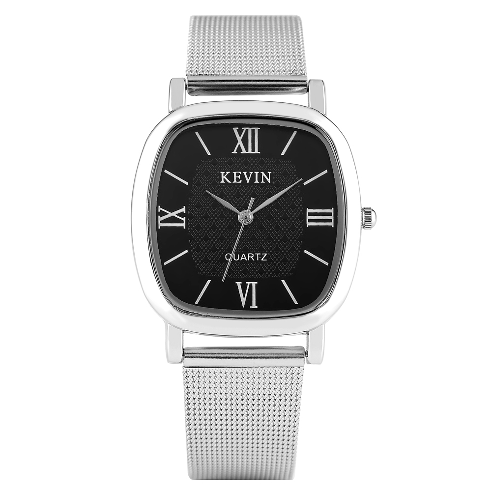 KEVIN Casual Men's Watch Stainless Steel Band Artificial Quartz Wrist Watch For Couple  Elegant Watch For Women Men