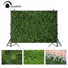 Allenjoy photocall backdrop green grass leaves wedding spring nature flower photo photography background banner photobooth