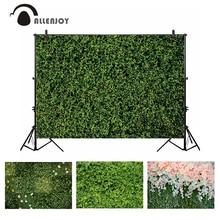 Allenjoy photocallの背景緑の草の葉結婚式春自然花の写真の写真の背景バナーphotobooth