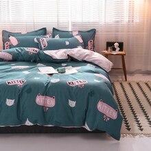 cute cartoon cat  bedding sets bed linen Simple Style duvet cover flat sheet Bedding Set Full King Single Queen set